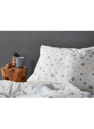 Hibboux 160x220 Star Nevresim + Yastık Kılıfı - W.Blue Renkli